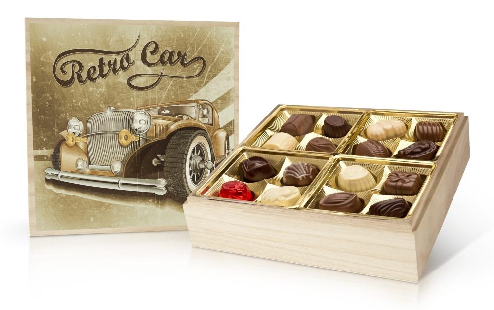 Retro Cars - belgické pralinky v dřevěné dóze 400 g