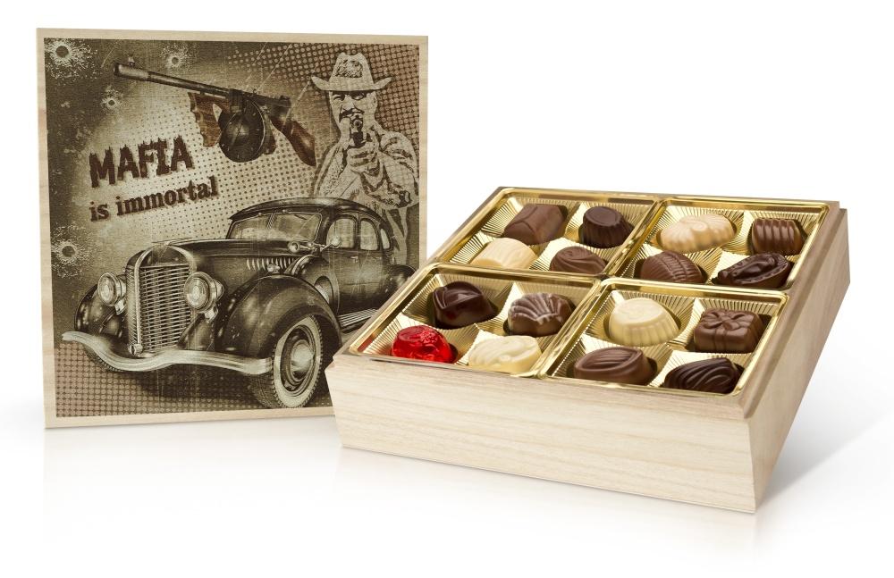 Retro cars MAFIA - belgické pralinky v dřevěné dóze 400 g